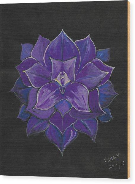 Purple Flower - Painting Wood Print