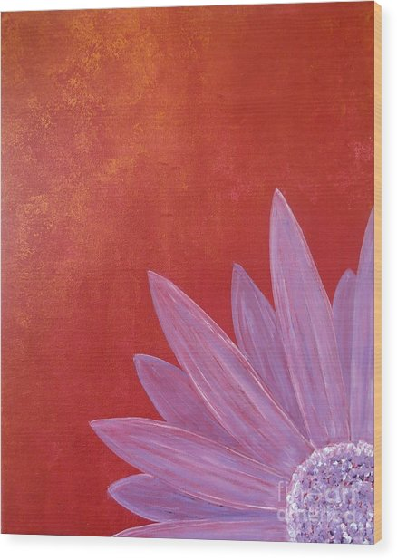 Purple Flower - Red Metallic Background Wood Print