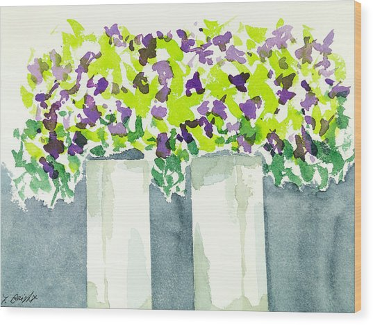 Purple Flowers Abstract Wood Print