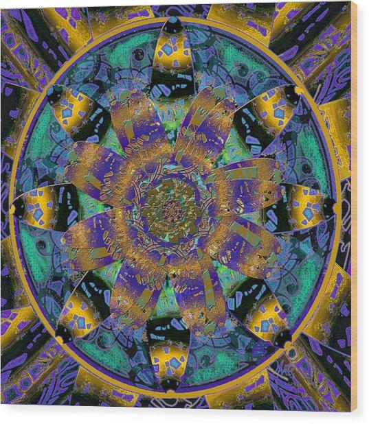 Purple Gold Dream Catcher Mandala Wood Print