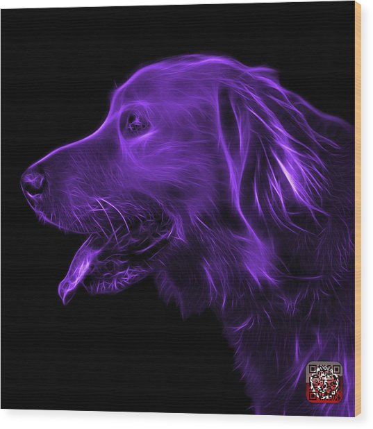 Purple Golden Retriever - 4047 F Wood Print