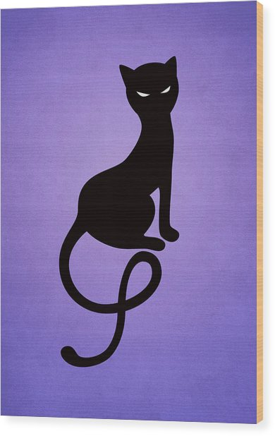 Purple Gracious Evil Black Cat Wood Print
