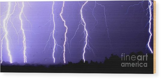 Purple Rain Lightning Wood Print
