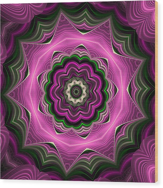 Purple Haze Kaleidoscope Wood Print