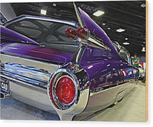 Purple Kustom Kadillac Wood Print