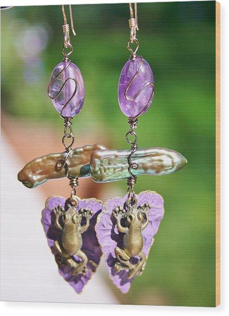 Purple Lily Pad Landing Earings Wood Print