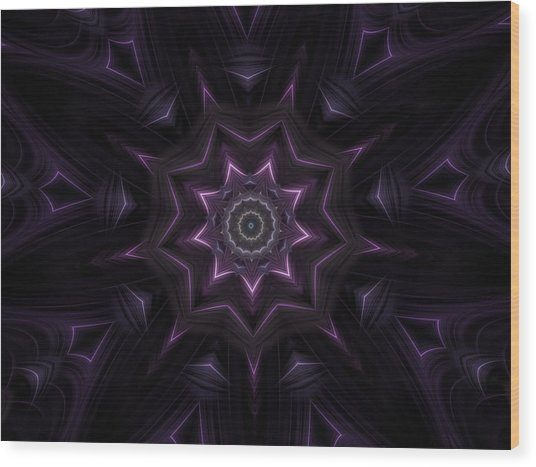 Purple Majestry Kaleidoscope Wood Print