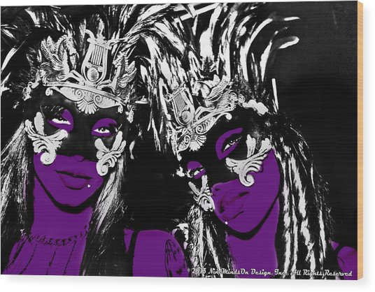 Purple Mask Wood Print by Ley Clarie Gray