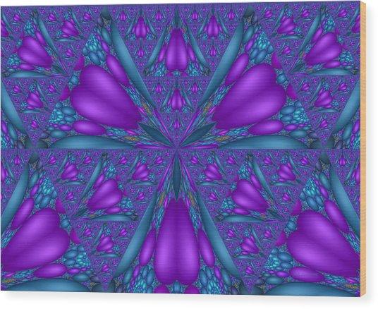 Purple Mixed Fractal Flower Wood Print