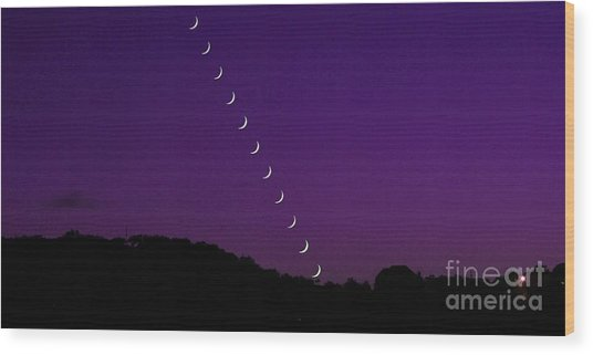 Purple Moon Setting In West Wood Print