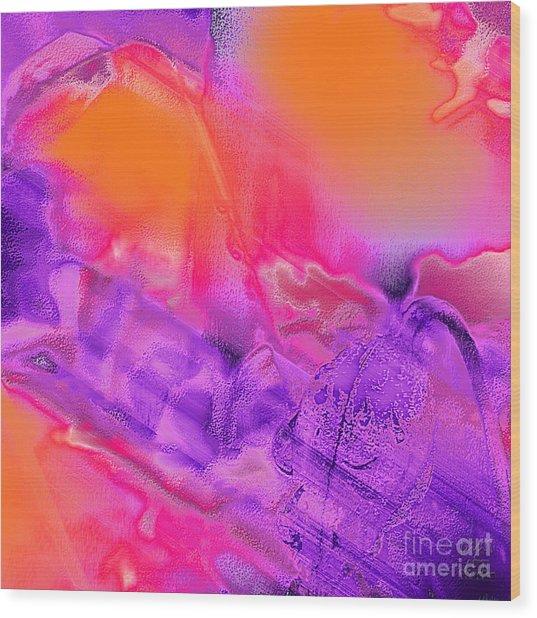 Purple Orange Pink Abstract Wood Print