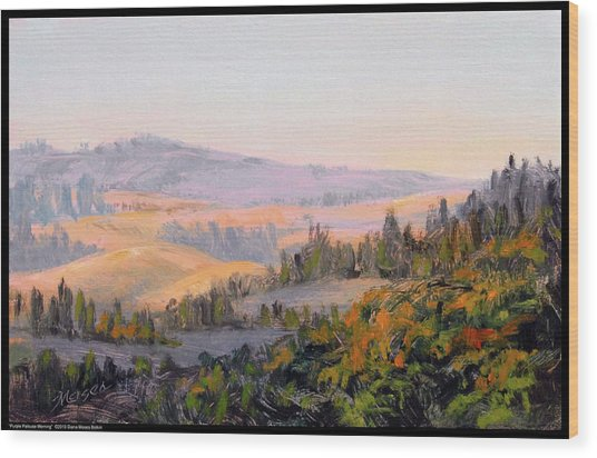 Purple Palouse Morning Wood Print