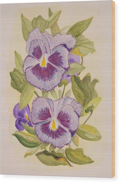 Purple Pansies II Wood Print