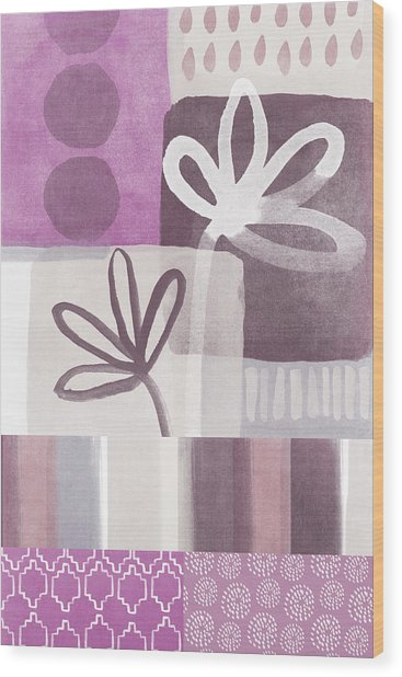 Purple Patchwork- Contemporary Art Wood Print