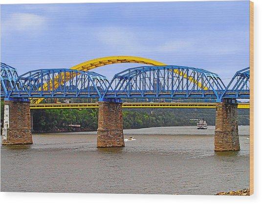 Purple People Bridge And Big Mac Bridge - Ohio River Cincinnati Wood Print