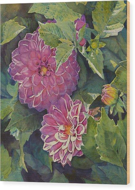 Purple Pinwheels Wood Print