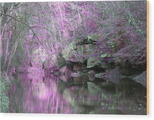 Purple Rock Reflection Wood Print