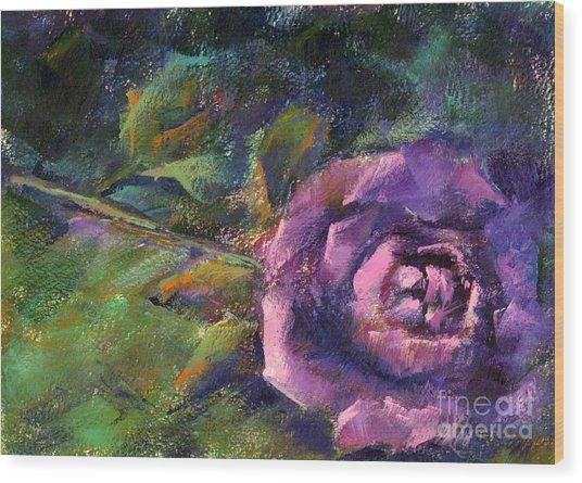 Purple Rose Wood Print by Addie Hocynec