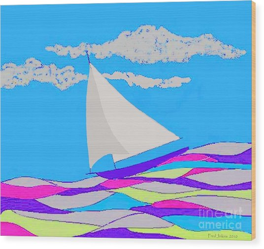 Purple Sailboat Wood Print