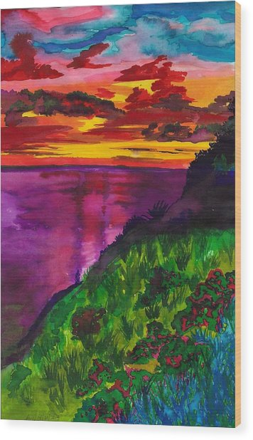 Purple Seas Wood Print