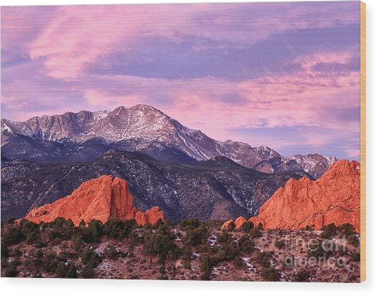 Purple Skies Over Pikes Peak Wood Print