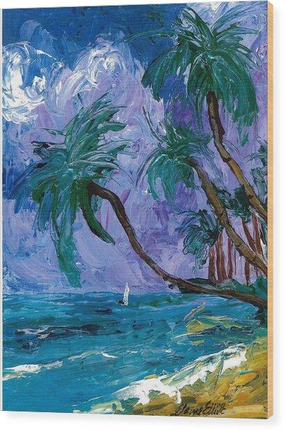 Purple Sky Palms Wood Print