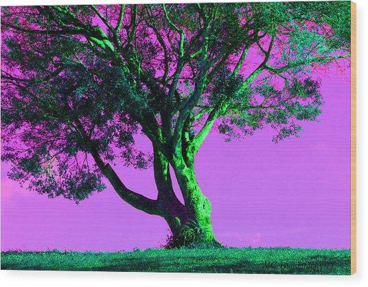 Purple Sky Tree Wood Print