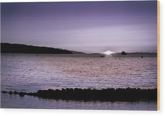 Purple Sunset At English Bay Wood Print