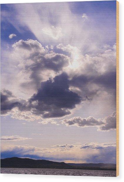 Purple Sunset On The Hudson River Wood Print