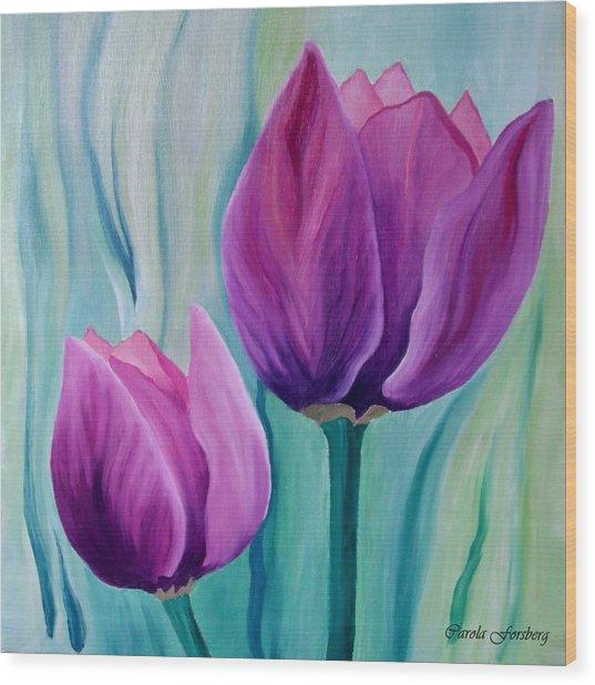 Purple Tulips Wood Print by Carola Ann-Margret Forsberg