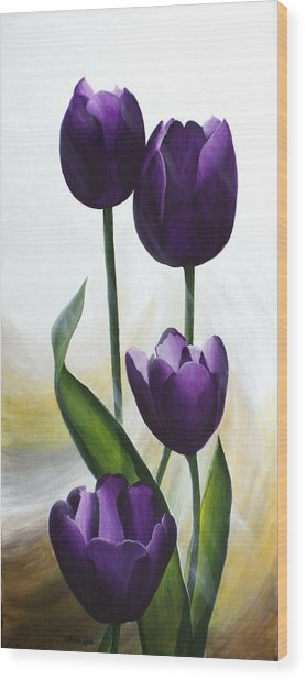 Purple Tulips Wood Print by Teresa Wadman