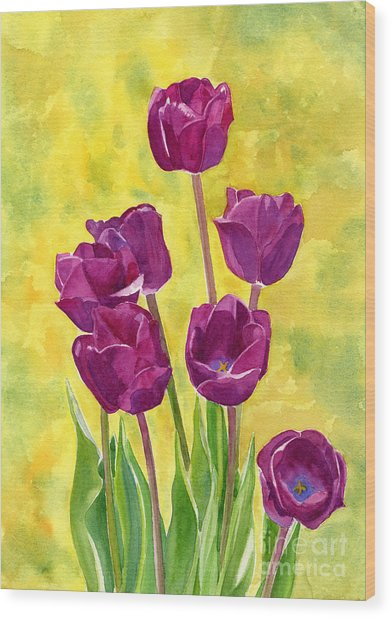 Purple Tulips With Textured Background Wood Print