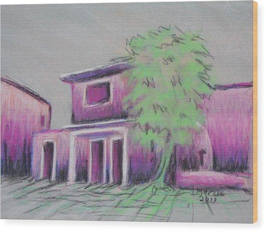 Purple Village Wood Print by Marcia Meade