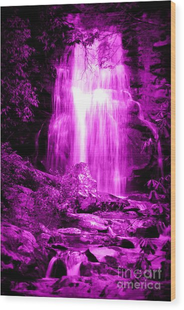 Purple Waterfall Wood Print