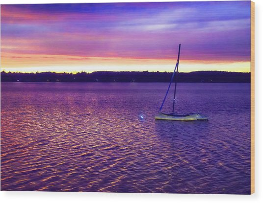 Purple Waters  Wood Print