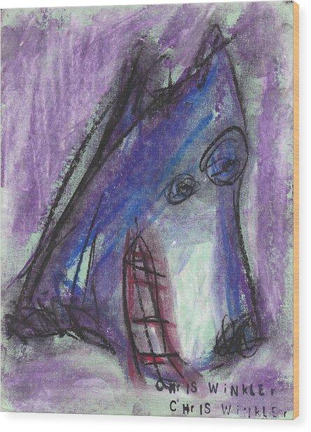 Purple Wolf Wood Print by Christopher Winkler