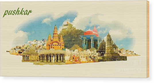 Pushkar City Panoramic Vector Water Wood Print
