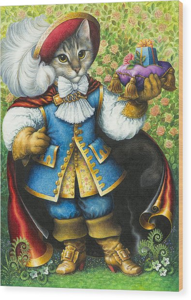 Puss-in-boots Wood Print
