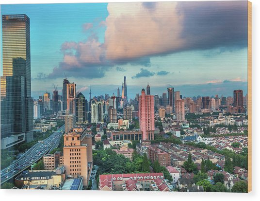 Puxi Pudong Buildings World Modern Wood Print by William Perry