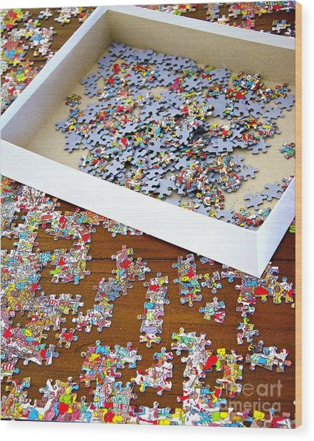 Puzzle Of Life  Wood Print by Bobby Mandal