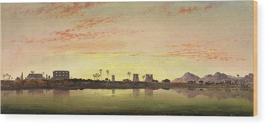 Pylons At Karnak, The Theban Mountains In The Distance Wood Print by Litz Collection