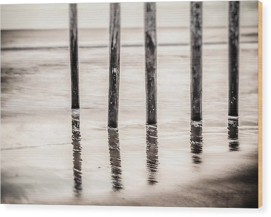 Pylons In Black And White Wood Print