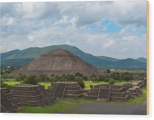 Pyramid Of The Sun As Viewed From Pyramid Of The Moon Mexico Wood Print