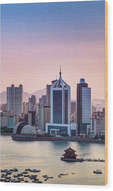 Qingdao Bay Sunset Scene Wood Print by Miragec