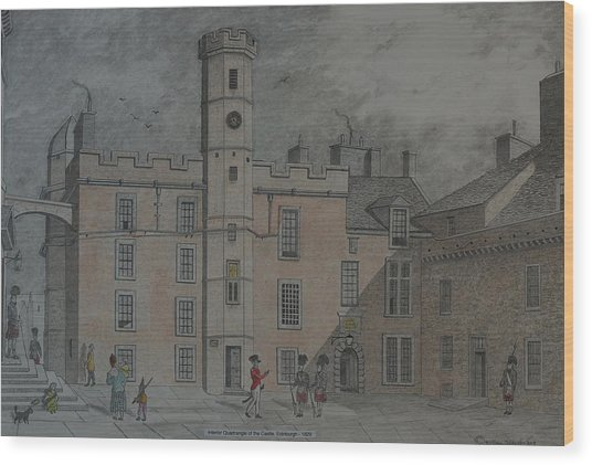 Quadrangle Edinburgh Castle Wood Print