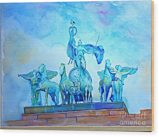 Quadriga Above The Arch At Grand Army Plaza Wood Print