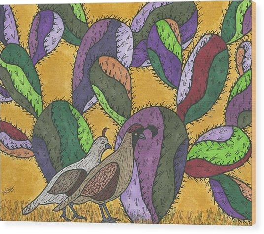 Quail And Prickly Pear Cactus Wood Print