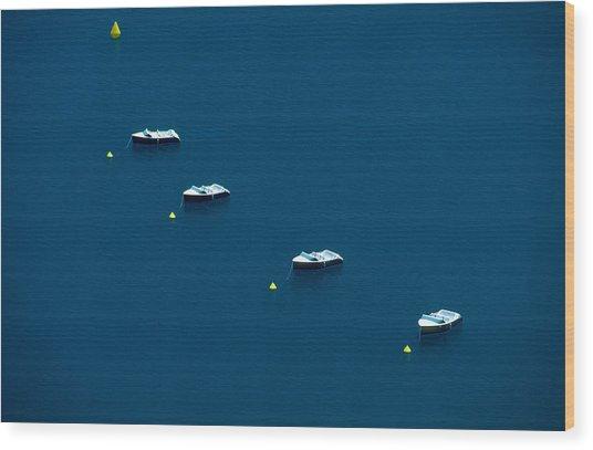 Quatre Petits Bateaux Wood Print by Kim Lessel
