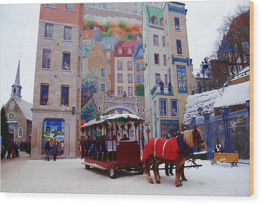 Quebec City Holiday Wood Print by Jacqueline M Lewis