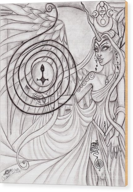 Queen Arianrhod Wood Print by Coriander  Shea